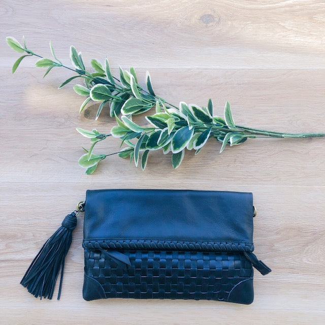 Cross Stitch Clutch in Black