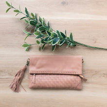 Load image into Gallery viewer, Cross Stitch Clutch in Dusty Pink