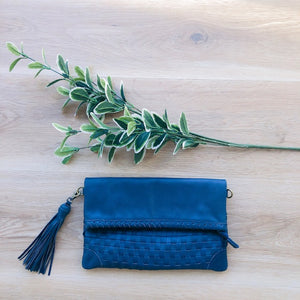 Cross Stitch Clutch in Vintage Blue