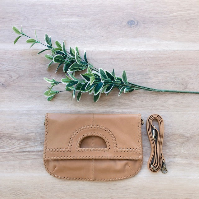 Foldover Light Tan Leather Clutch