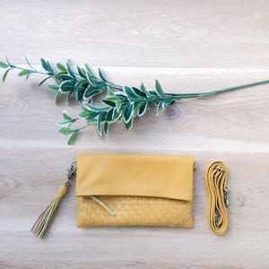 Cross Stitch Clutch in Mustard
