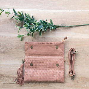 Cross Stitch Clutch in Dusty Pink