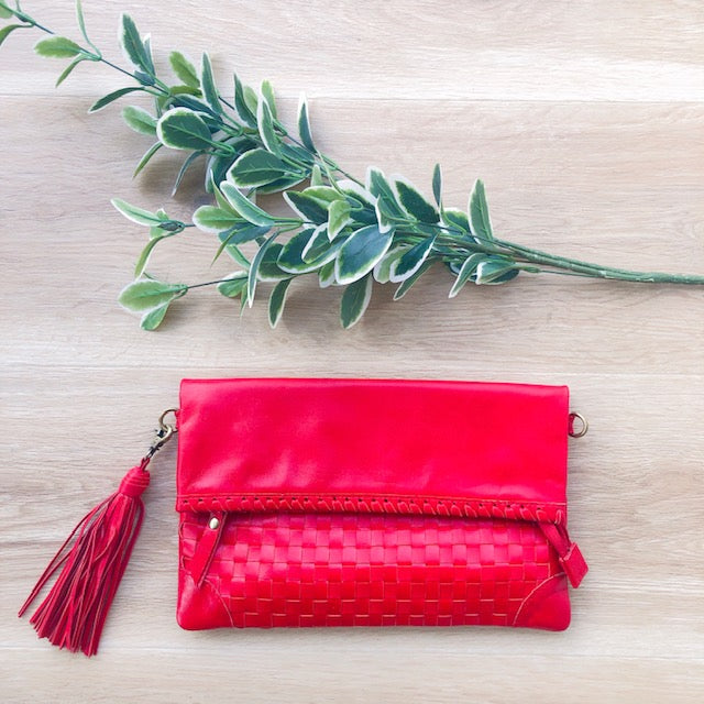 Cross Stitch Clutch in Red
