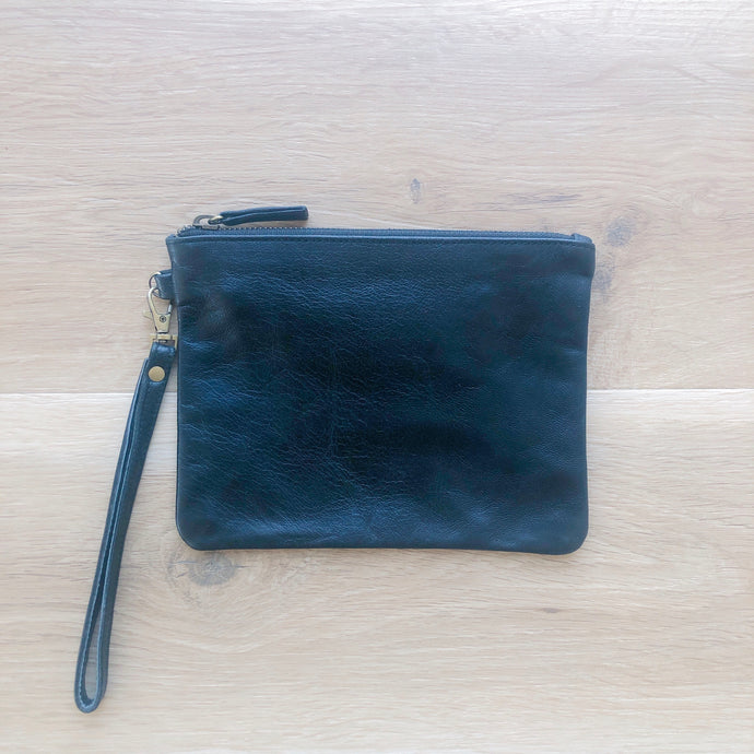 Small Plain Leather Pouch in Black