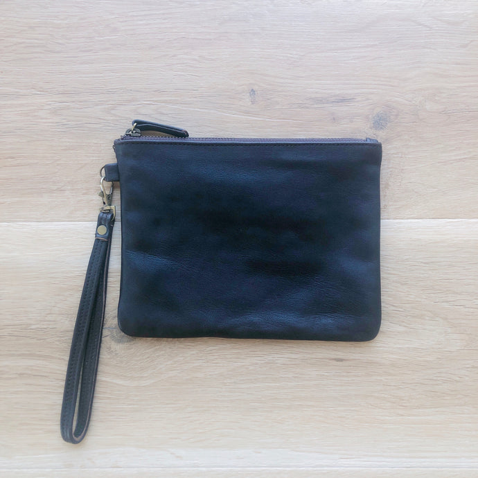 Small Plain Leather Pouch in Chocolate Brown
