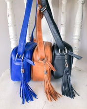 Load image into Gallery viewer, Small Shoulder Leather Bag in Electric Blue