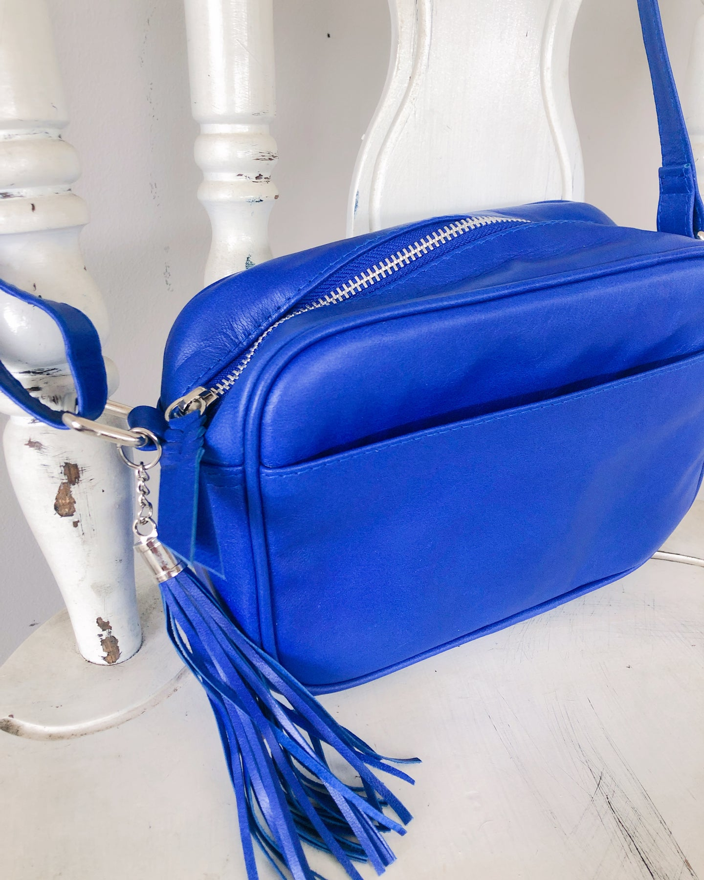 Small Shoulder Leather Bag in Electric Blue