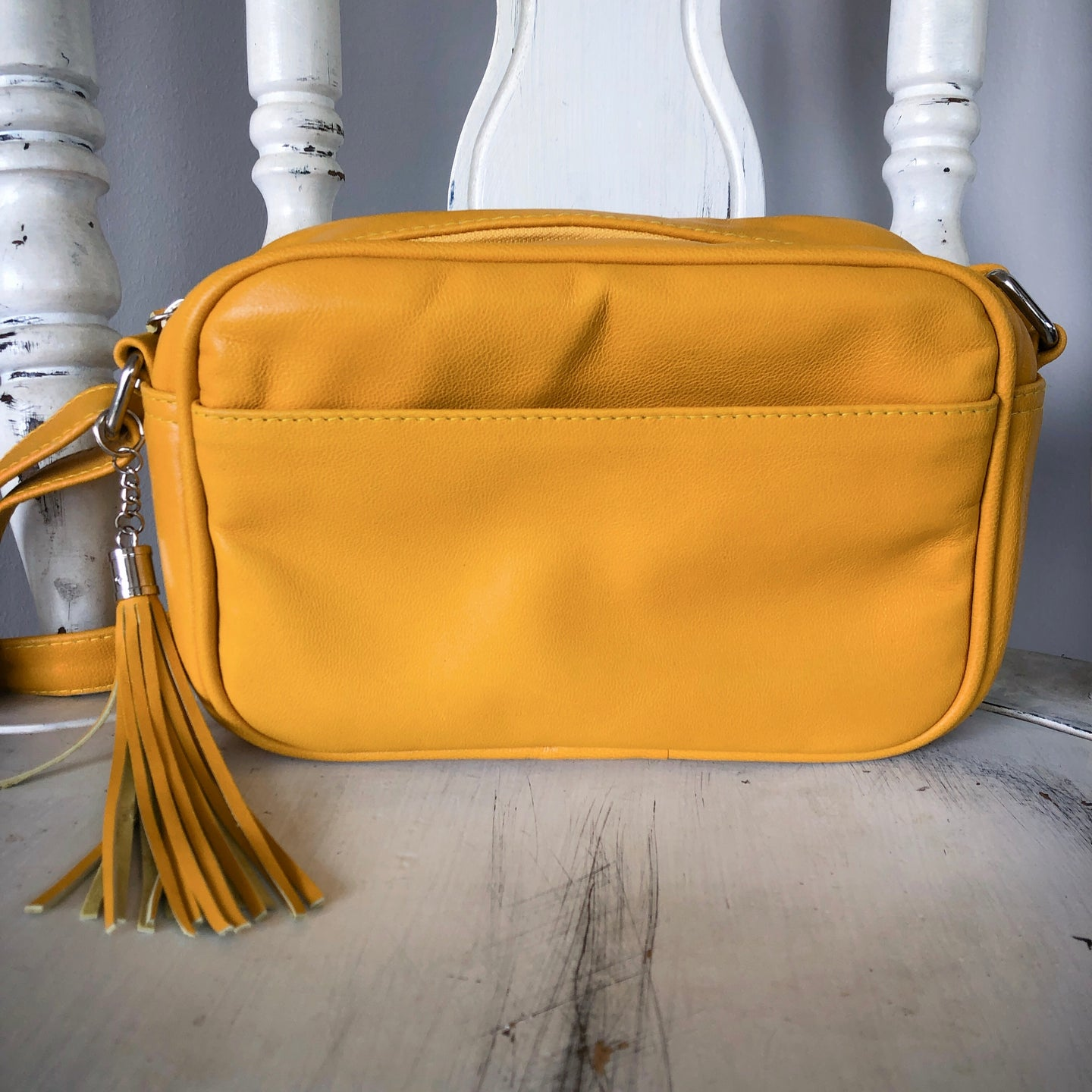 Small Shoulder Leather Bag in Mustard
