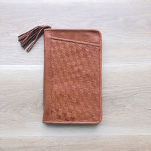 Load image into Gallery viewer, Cross Stitch Leather Travel Wallet in Vintage Tan