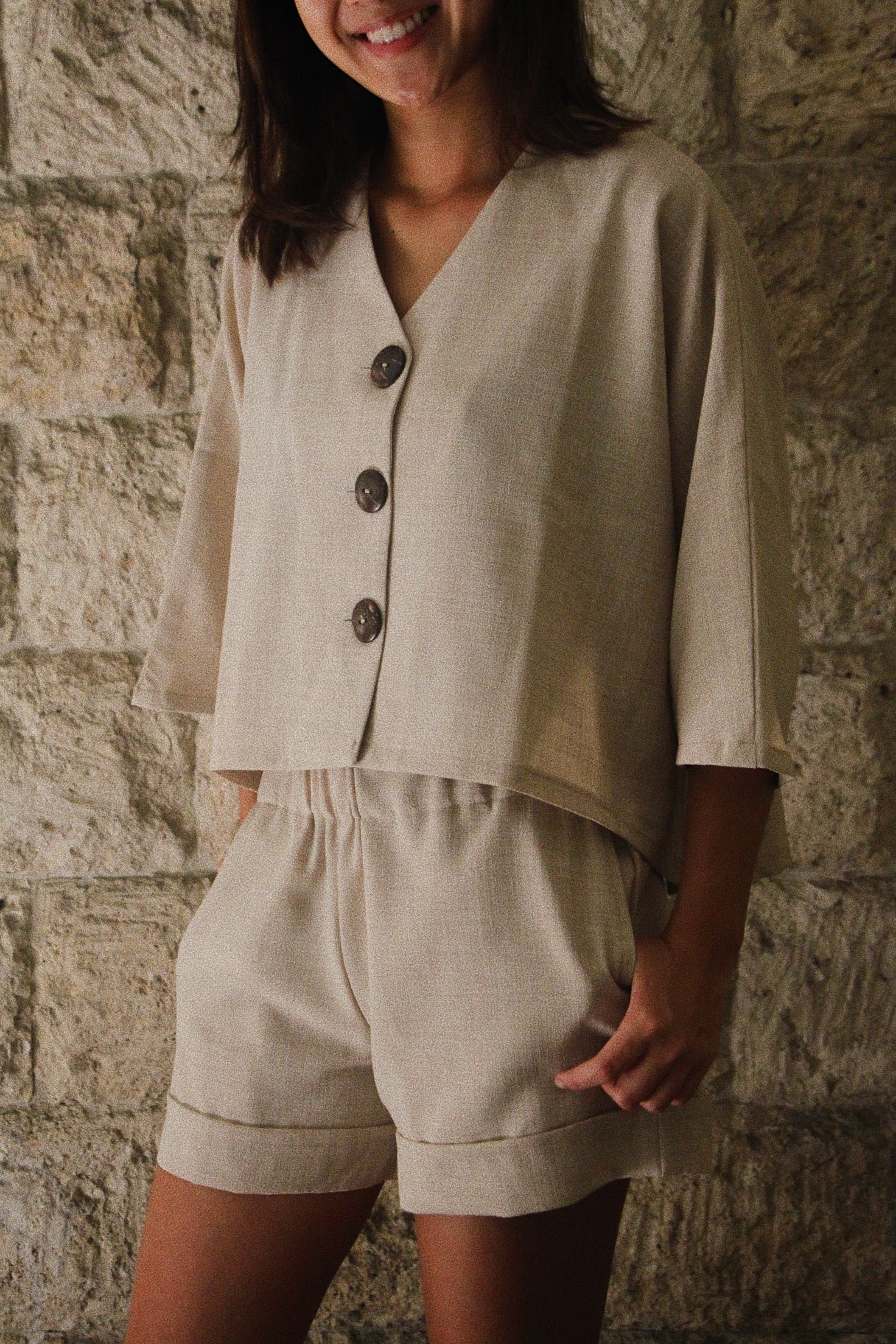 Juntos Long-sleeved Top in Oat