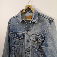Load image into Gallery viewer, Vintage Levi's Type 3 Denim Trucker Jacket Made in USA Sweet Water Truckers Riverside Calif. Embroidered on reverse.