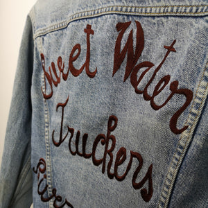 Vintage Levi's Type 3 Denim Trucker Jacket Made in USA Sweet Water Truckers Riverside Calif. Embroidered on reverse.