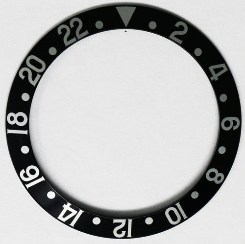 Bezel Insert Aluminum For Rolex GMT Black Vintage Fat Font