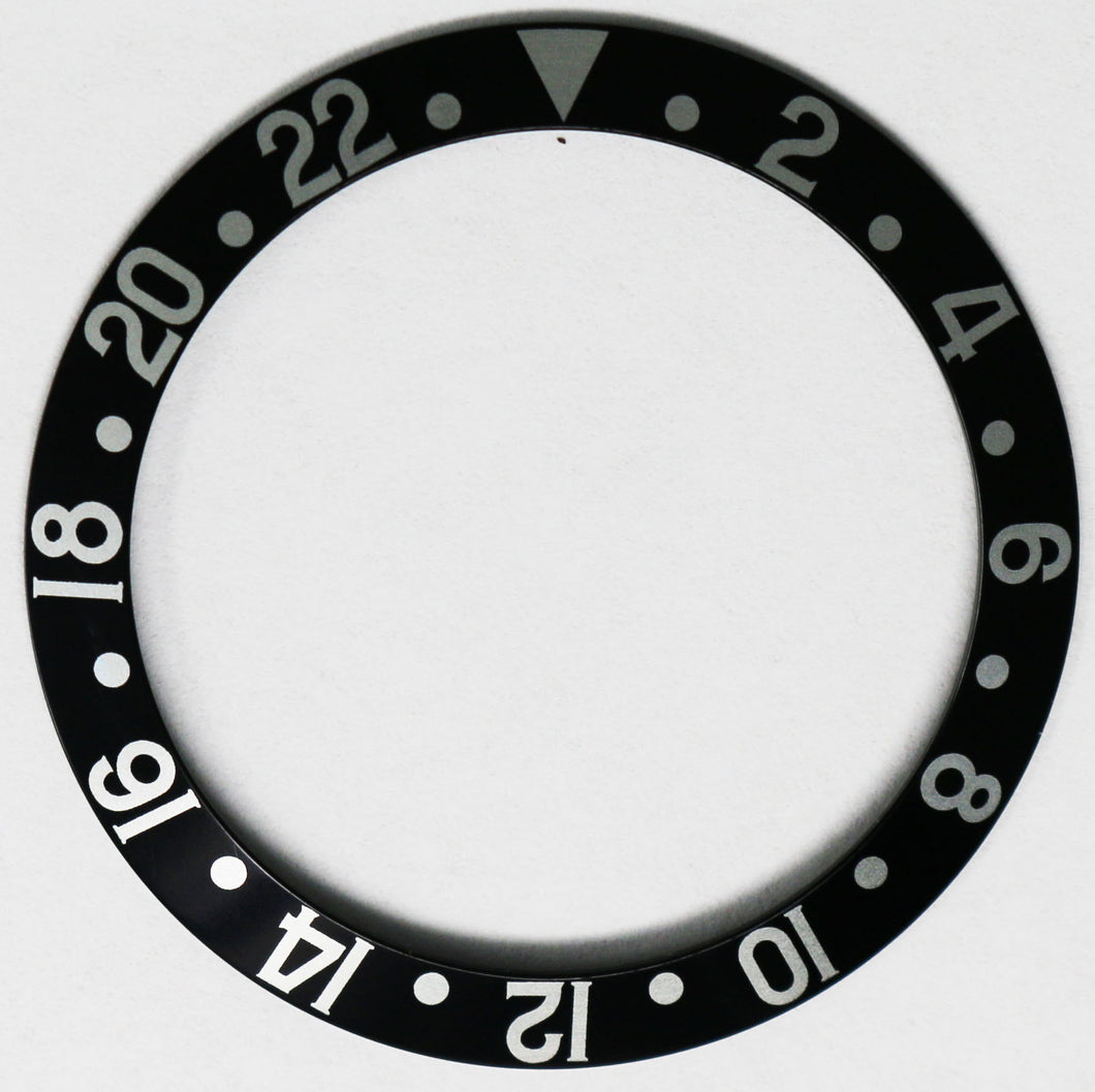 Bezel Insert Aluminum For Rolex GMT 1675/16750 Black Vintage Fat Font