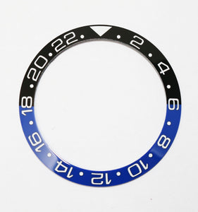 Bezel Insert Ceramic For Rolex GMT II Batman Black/Blue With ENGRAVED Numbers
