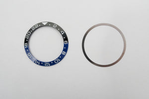 Bezel Insert Ceramic For Rolex GMT II Batman Black/Blue With Flat Tension