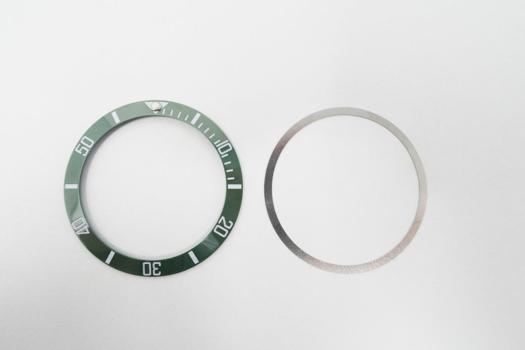Bezel Insert Ceramic For Rolex Submariner Kermit Green With Flat Tension
