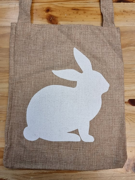 Easter Hessian Tote Bags -  Bunny or Happy Easter