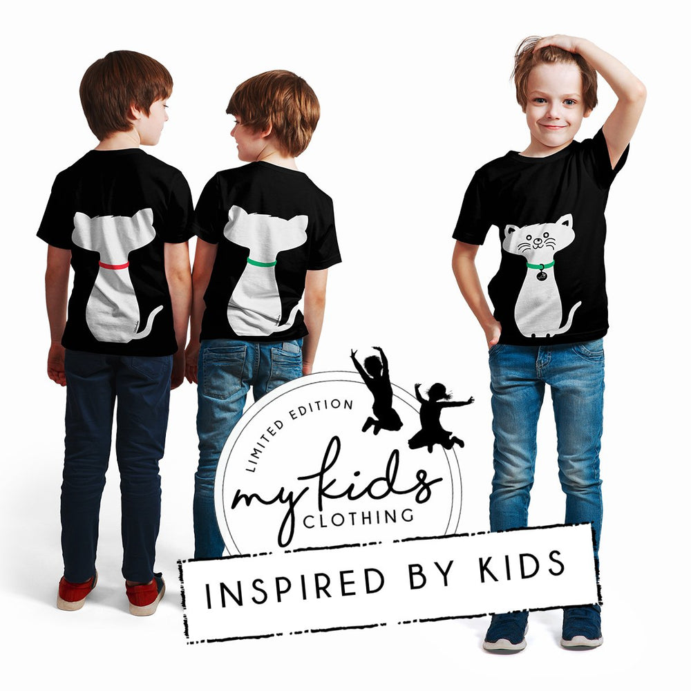 My Kids Clothing.  Teal Green Collared Cat, Front and Back. Ethically Made.  Designed in NZ.  2 4 6 8 10 12 14. Limited Edition.