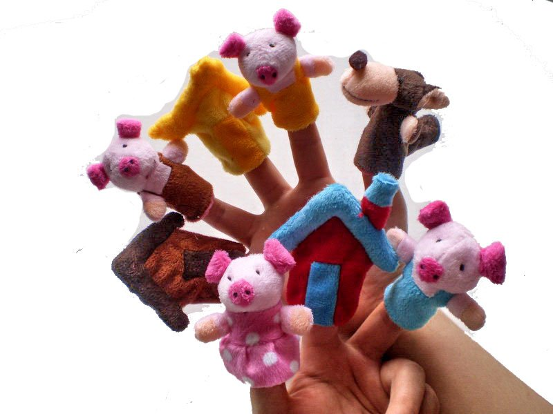Three Little Pigs Finger Puppets - Set of 8