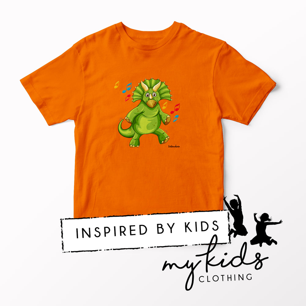 Orange Triceratops Disco Dino T-Shirt