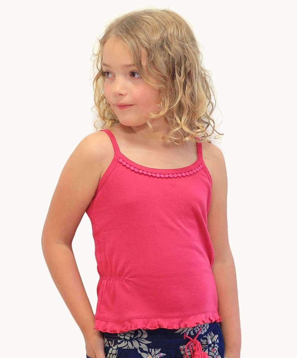 Hot Pink Pom Pom Singlet Top - Priced from $29.95