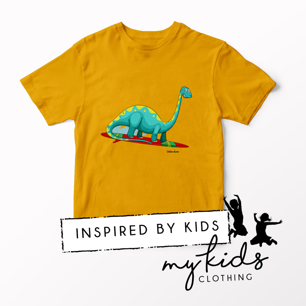 Gold Surfing Brontosaurus T-Shirt