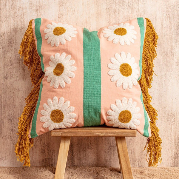 Daisy Chain Cushion - Peachy Parrot