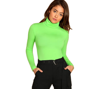 f8ffb11fef High Neck Neon Lime Form Fitted Bodysuit