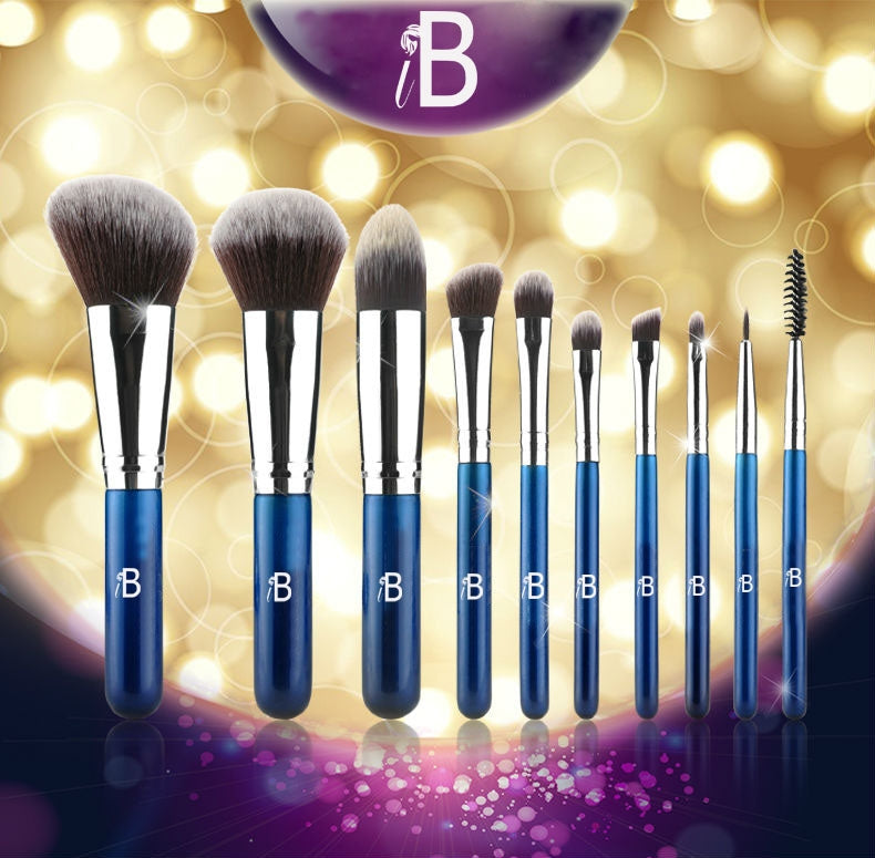 10pc IB Professional Brush Set With Blue Carry Case by  Forever Cosmetics