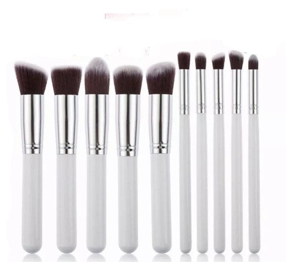 10pc White & Chrome Silver Makeup Brush Set