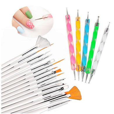 Glamza 20pc Nail Art Brushes & Dotting Set