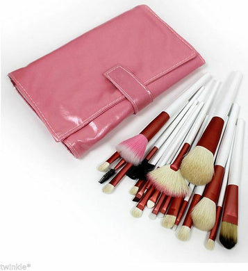 20pc Professional Brush Set in Pink Leather Pouch - Glamza