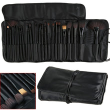Load image into Gallery viewer, 24pc Professional Makeup Brush Sets - Black & Wooden