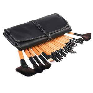 24pc Professional Makeup Brush Sets - Black & Wooden