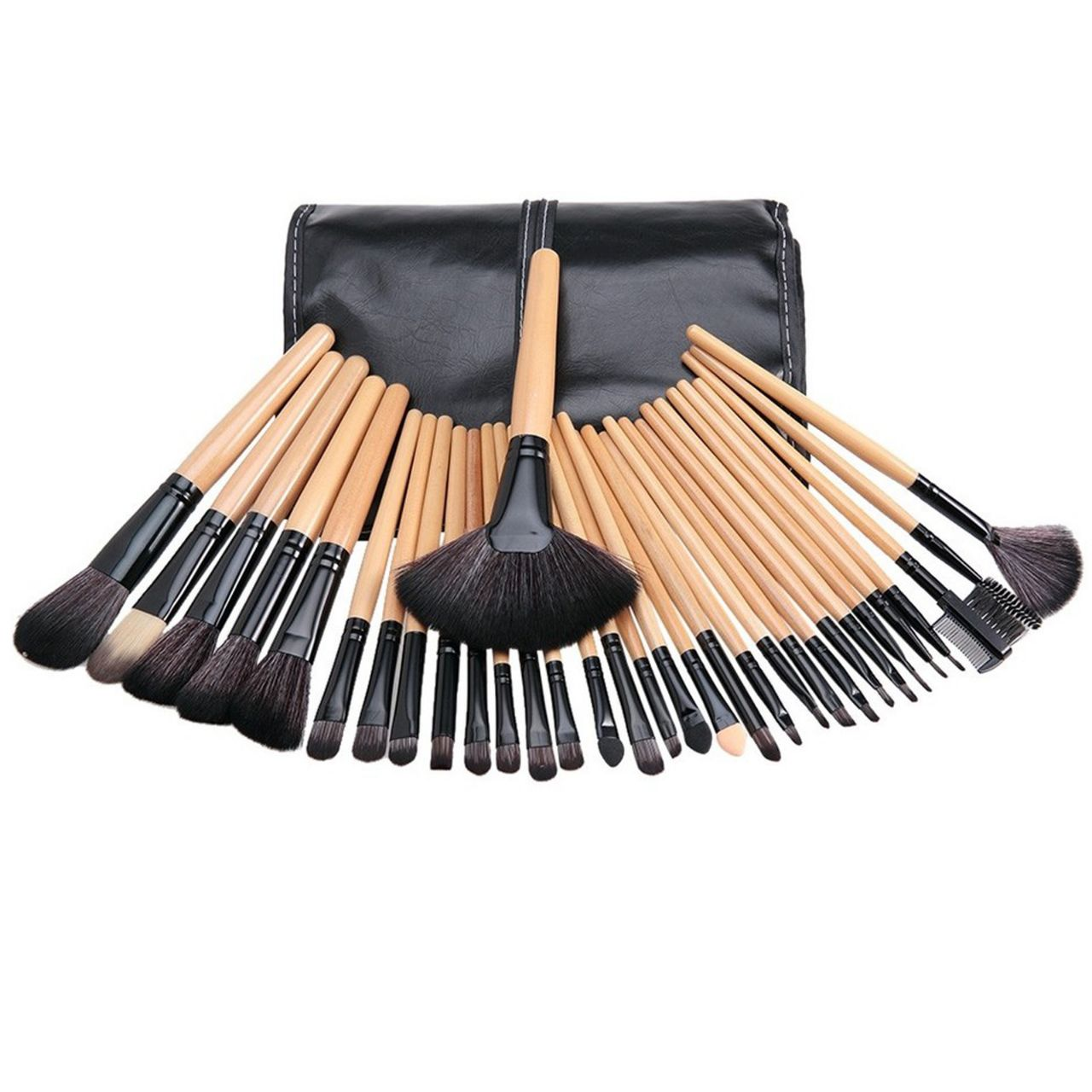 Glamza 32 Piece Wooden Makeup Brush Set, Makeup Tools by Forever Cosmetics