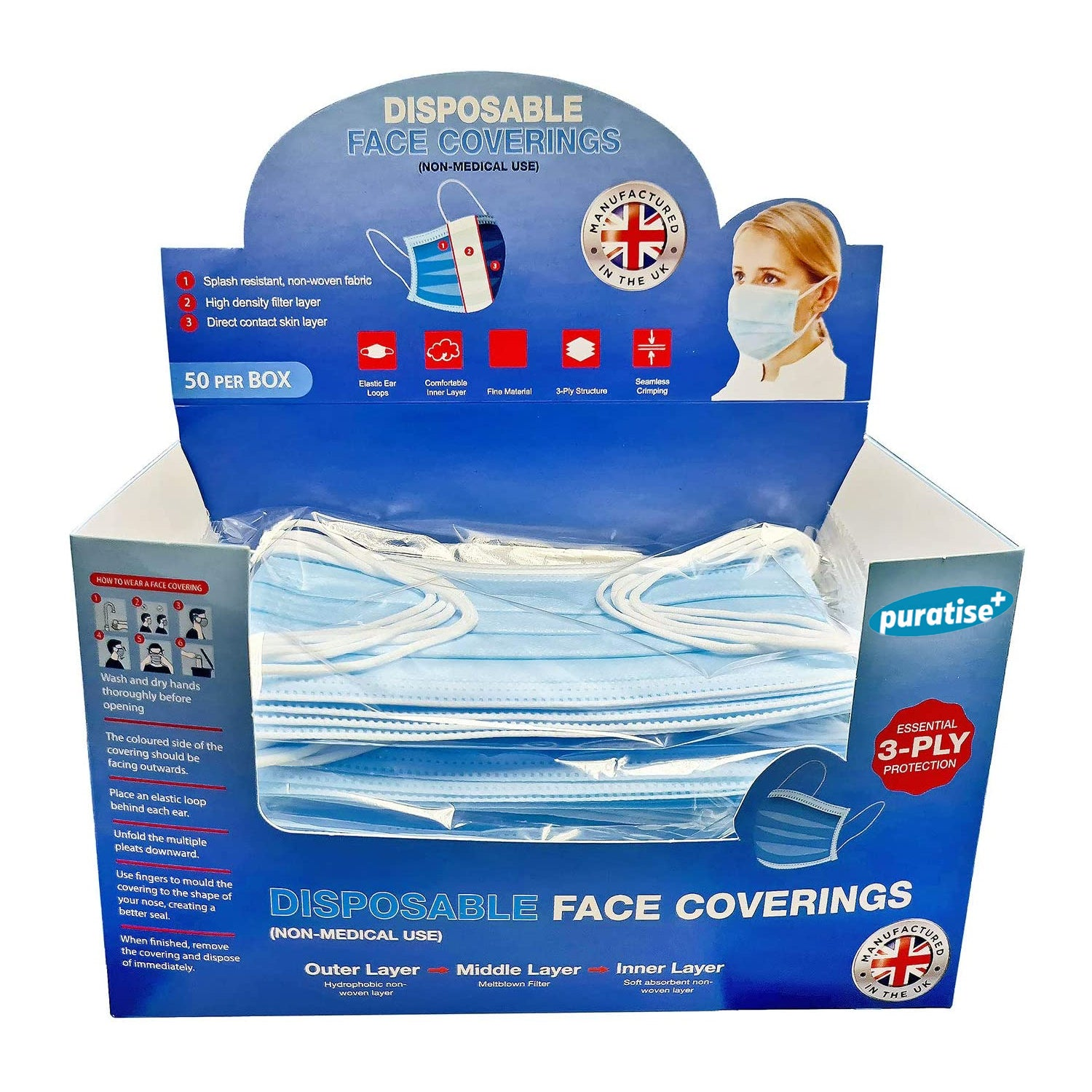 Puratise Disposable 3 Ply Face Masks- 50 Per Box- Made in the UK, Work Safety Protective Equipment by Forever Cosmetics