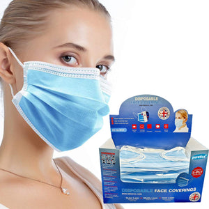 Puratise Disposable 3 Ply Face Masks- 50 Per Box- Made in the UK