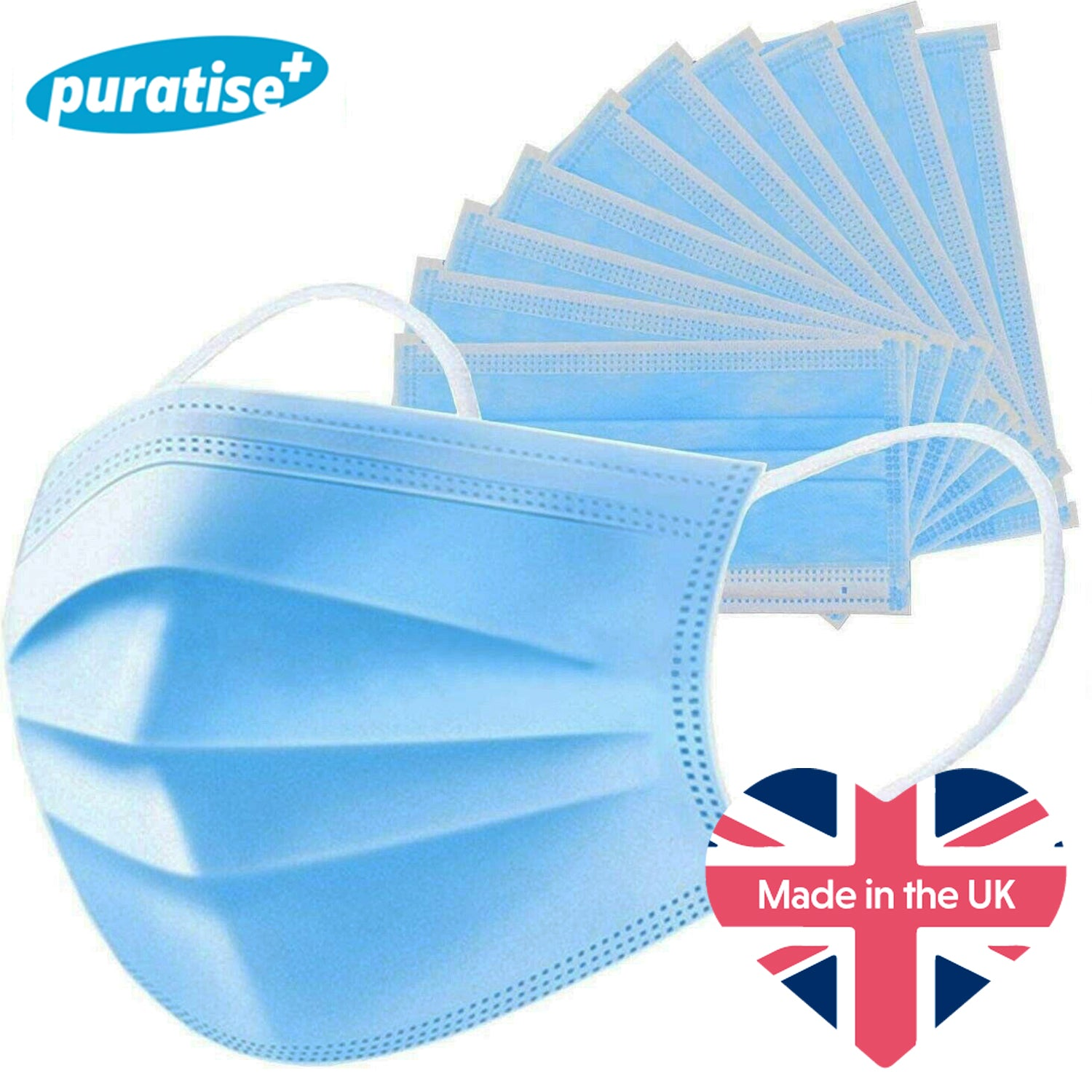 Puratise Disposable 3 Ply Face Masks- 50 Per Box- Made in the UK by  Forever Cosmetics