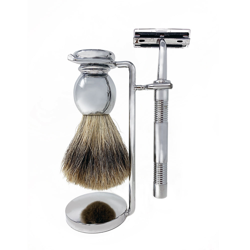 3 Piece Solid Chrome Affect Shaving Kit
