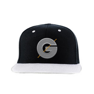 Groomarang Black & Grey Contrast Snapback Cap With Large Embroidered Logo
