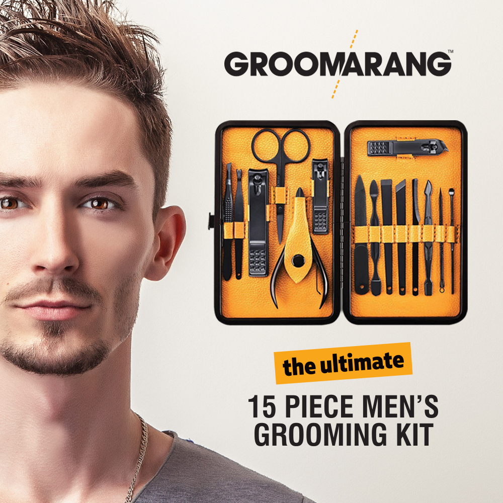 Groomarang 'The Ultimate' 15 Piece Mens Grooming Manicure & Pedicure Kit, Cosmetic Tools by Forever Cosmetics