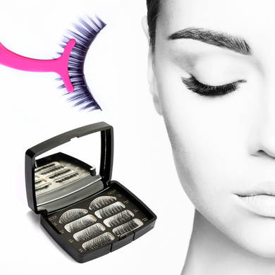 Glamza Magnetic False Eyelash Set in Black Case With Mirror and Eyelash Applicator