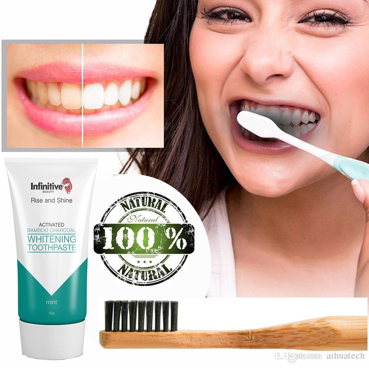 Infinitive Beauty Rise And Shine Activated Bamboo Charcoal Whitening Toothpaste - Mint - 50g by  Forever Cosmetics