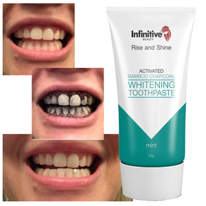 Infinitive Beauty Rise And Shine Activated Bamboo Charcoal Whitening Toothpaste - Mint - 50g