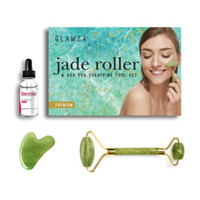 Load image into Gallery viewer, Glamza Jade Roller & Gua Sha Scraping Tool With 30ml Dermier Derma Collagen Serum Set