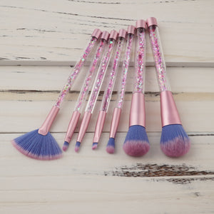 7pc Unicorn Glitter Make Up Brushes - Pink Glitter