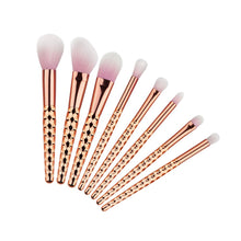 Load image into Gallery viewer, 8PC LUXURY UNICORN ROSE GOLD BRUSH SET