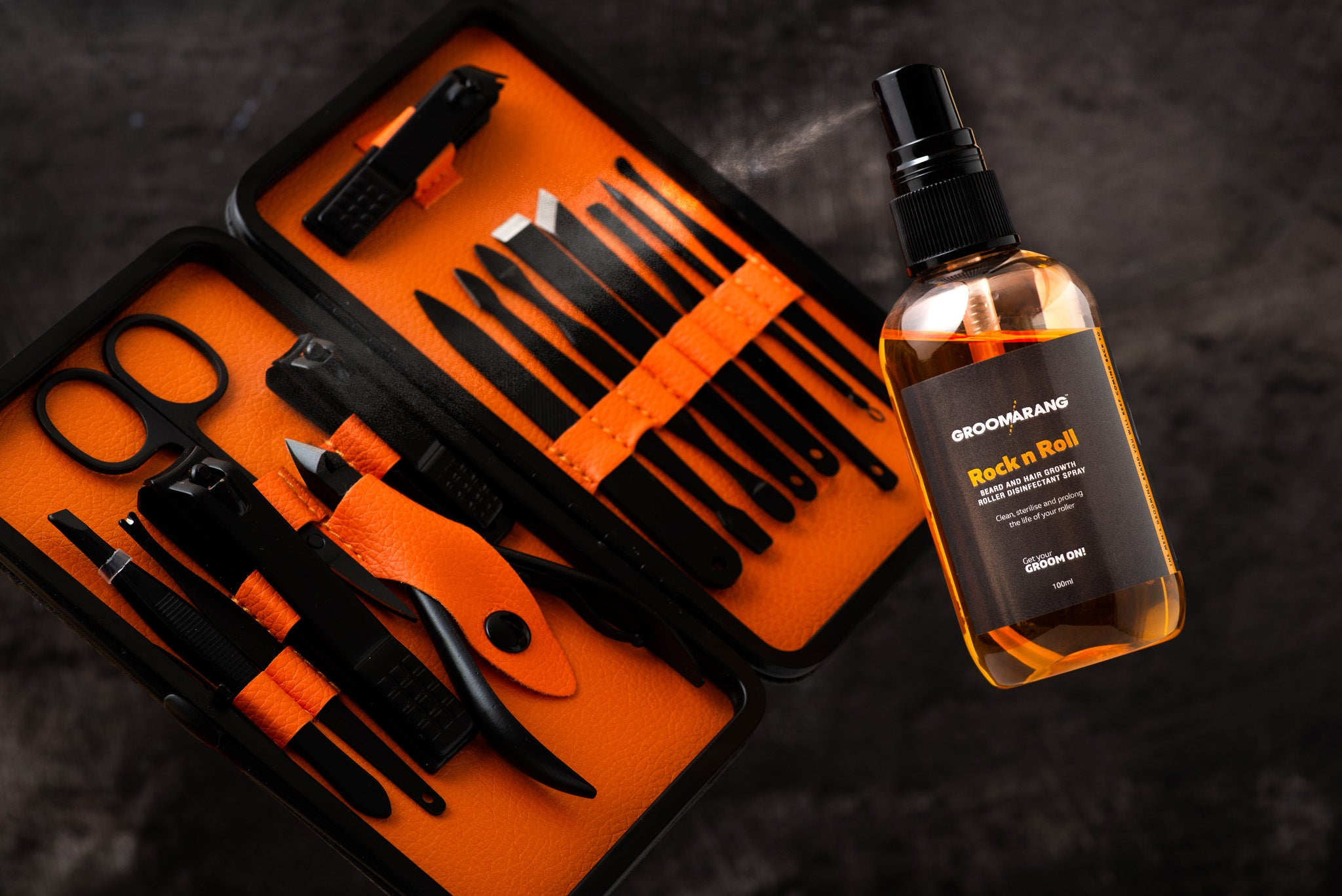 Groomarang 'Rock n Roll' Disinfectant Spray 100ml and 'The Ultimate' 15 Piece Mens Grooming Kit, Shaving & Grooming by Forever Cosmetics