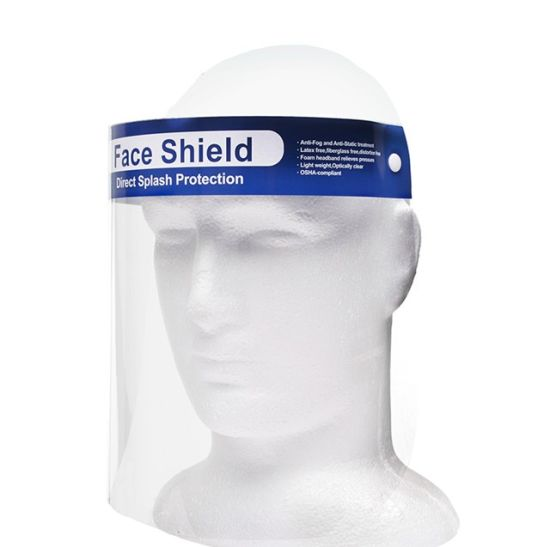Disposable Blue Strip Face Shield Visor with Foam, Work Safety Protective Equipment by Forever Cosmetics